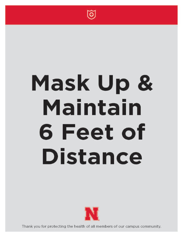 Poster with text describing mask-required and social distancing space